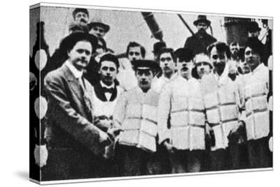 Members of the crew of the Titanic in their life jackets, 1912. Artist: Unknown-Unknown-Stretched Canvas Print