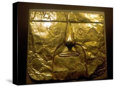 Gold mask, Chimu people, Peru, 1100-1500. Artist: Unknown-Unknown-Stretched Canvas Print