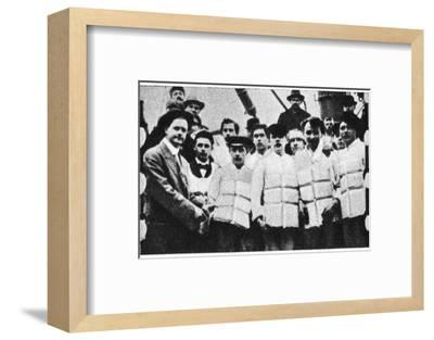 Members of the crew of the Titanic in their life jackets, 1912. Artist: Unknown-Unknown-Framed Photographic Print