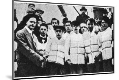 Members of the crew of the Titanic in their life jackets, 1912. Artist: Unknown-Unknown-Mounted Photographic Print