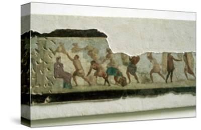 Slaves building a wall watched by a taskmaster, Roman. Artist: Unknown-Unknown-Stretched Canvas Print