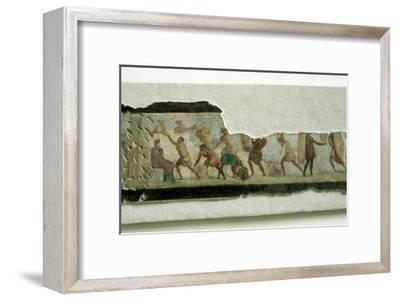 Slaves building a wall watched by a taskmaster, Roman. Artist: Unknown-Unknown-Framed Giclee Print