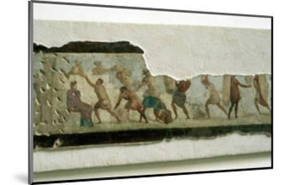 Slaves building a wall watched by a taskmaster, Roman. Artist: Unknown-Unknown-Mounted Giclee Print