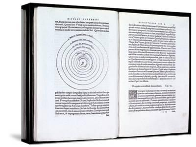 Copernicus' heliocentric model of the Universe, 1543. Artist: Unknown-Unknown-Stretched Canvas Print