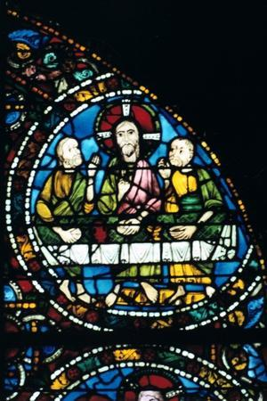 The Last Supper, stained glass, Chartres Cathedral, France, 1194-1260. Artist: Unknown-Unknown-Framed Giclee Print