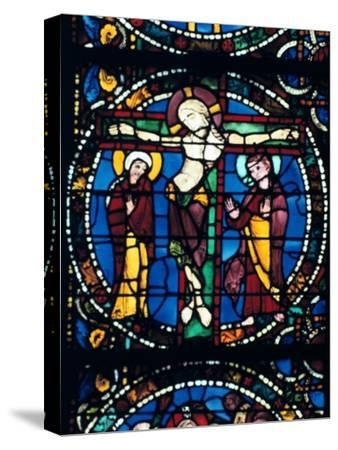 Christ on the Cross, stained glass, Chartres Cathedral, France, 1194-1260.. Artist: Unknown-Unknown-Stretched Canvas Print