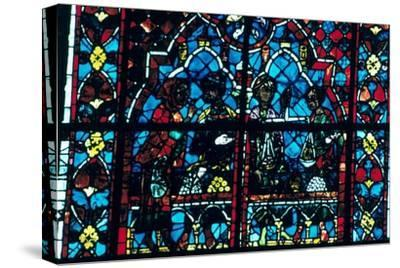 Money changers, stained glass, Chartres Cathedral, Chartres, France. Artist: Unknown-Unknown-Stretched Canvas Print