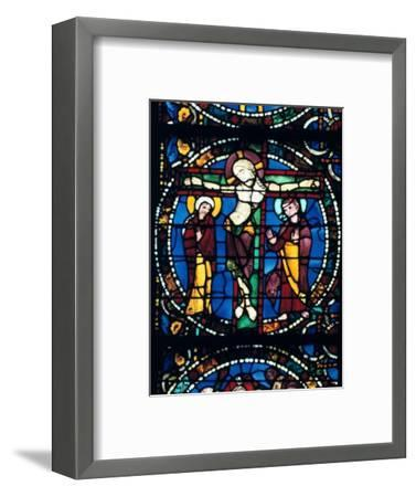 Christ on the Cross, stained glass, Chartres Cathedral, France, 1194-1260.. Artist: Unknown-Unknown-Framed Giclee Print