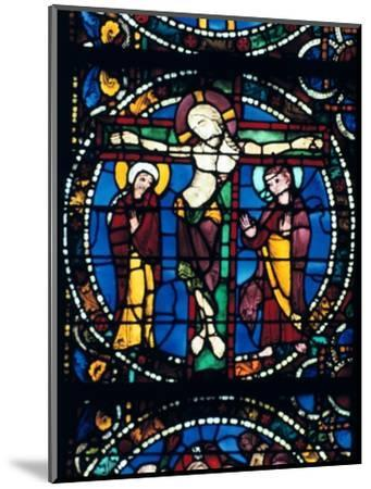 Christ on the Cross, stained glass, Chartres Cathedral, France, 1194-1260.. Artist: Unknown-Unknown-Mounted Giclee Print