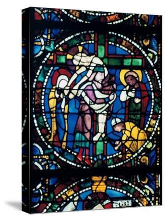 The Descent from the Cross, stained glass, Chartres Cathedral, France, 1194-1260. Artist: Unknown-Unknown-Stretched Canvas Print