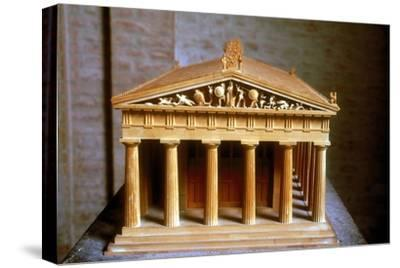 Model of the Temple of Aphaia at the Isle of Aegina, Greece, built c500-c480 BC. Artist: Unknown-Unknown-Stretched Canvas Print
