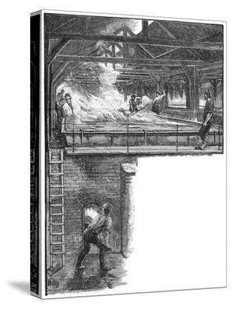 Shovelling salt at South Durham Salt Works, 1884. Artist: Unknown-Unknown-Stretched Canvas Print