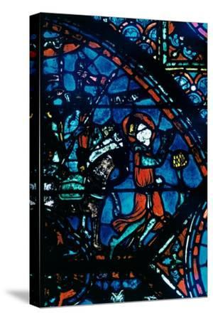 Charlemagne prays, stained glass, Chartres Cathedral, France, c1225. Artist: Unknown-Unknown-Stretched Canvas Print