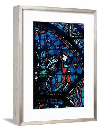 Charlemagne prays, stained glass, Chartres Cathedral, France, c1225. Artist: Unknown-Unknown-Framed Giclee Print
