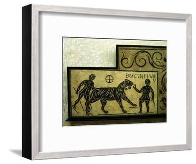 Roman mosaic deoicting a tiger and gladiators, 2nd century. Artist: Unknown-Unknown-Framed Giclee Print