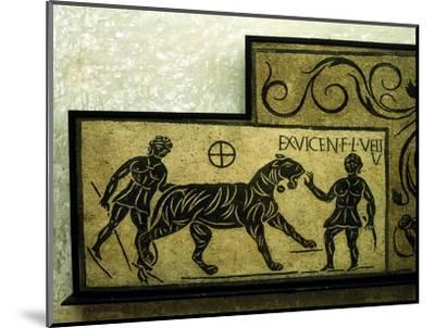 Roman mosaic deoicting a tiger and gladiators, 2nd century. Artist: Unknown-Unknown-Mounted Giclee Print