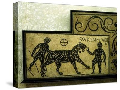 Roman mosaic deoicting a tiger and gladiators, 2nd century. Artist: Unknown-Unknown-Stretched Canvas Print