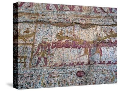 Painted relief showing a Ra sun boat carried in a procession, Ancient Egyptian. Artist: Unknown-Unknown-Stretched Canvas Print