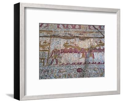 Painted relief showing a Ra sun boat carried in a procession, Ancient Egyptian. Artist: Unknown-Unknown-Framed Giclee Print