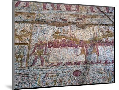 Painted relief showing a Ra sun boat carried in a procession, Ancient Egyptian. Artist: Unknown-Unknown-Mounted Giclee Print