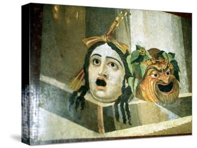 Theatrical masks of tragedy and comedy depicted in a Roman mosaic. Artist: Unknown-Unknown-Stretched Canvas Print