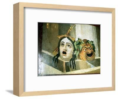 Theatrical masks of tragedy and comedy depicted in a Roman mosaic. Artist: Unknown-Unknown-Framed Giclee Print