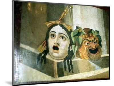 Theatrical masks of tragedy and comedy depicted in a Roman mosaic. Artist: Unknown-Unknown-Mounted Giclee Print