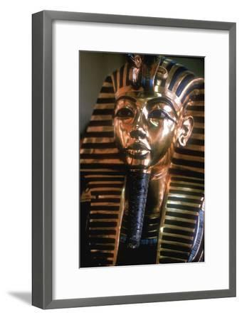 Gold mask of Tutankhamun on his mummy-case. Artist: Unknown-Unknown-Framed Giclee Print