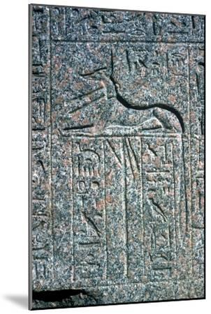 Relief on granite sarcophagus of Anubis, Memphis, Egypt, Middle kingdom period. Artist: Unknown-Unknown-Mounted Giclee Print