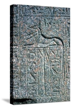 Relief on granite sarcophagus of Anubis, Memphis, Egypt, Middle kingdom period. Artist: Unknown-Unknown-Stretched Canvas Print