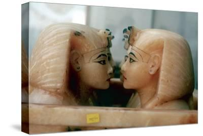 Canopic Jars from the Tomb of Tutankhamun. Artist: Unknown-Unknown-Stretched Canvas Print