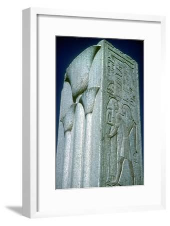 Pillar with Papyrus motif (symbol of Lower Egypt), Temple of Amun, Karnak, Egypt. Artist: Unknown-Unknown-Framed Giclee Print