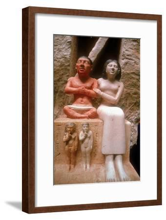 The dwarf Seneb with his wife and two children, Giza, 5th Dynasty. Artist: Unknown-Unknown-Framed Giclee Print