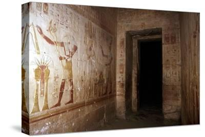 Wallpaintings, Temple of Sethos I, Abydos, Egypt, 19th Dynasty, c1280 BC. Artist: Unknown-Unknown-Stretched Canvas Print