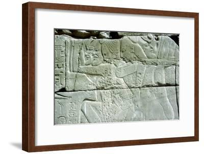 Relief depicting captives of war, Temple of Amun, Karnak, Egypt. Artist: Unknown-Unknown-Framed Giclee Print