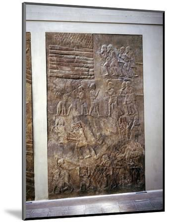 Assyrian relief showing transport of timber by land, Khorsabad, c8th century BC. Artist: Unknown-Unknown-Mounted Giclee Print