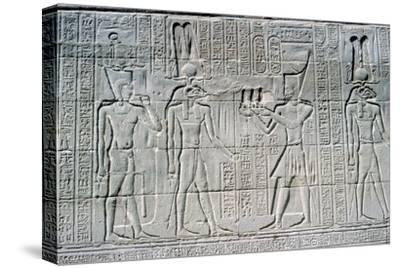 Relief of the Pharaoh before Knum, Temple of Khnum, Ptolemaic & Roman Periods. Artist: Unknown-Unknown-Stretched Canvas Print