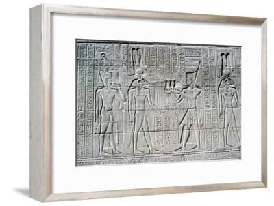 Relief of the Pharaoh before Knum, Temple of Khnum, Ptolemaic & Roman Periods. Artist: Unknown-Unknown-Framed Giclee Print