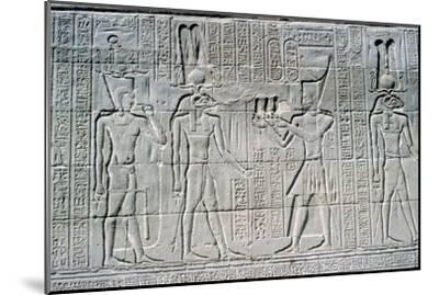 Relief of the Pharaoh before Knum, Temple of Khnum, Ptolemaic & Roman Periods. Artist: Unknown-Unknown-Mounted Giclee Print