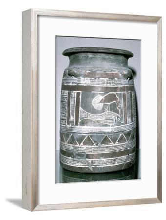 Terracotta pot with motif of bird eating a fish, Susa, c2000-c1940 BC. Artist: Unknown-Unknown-Framed Giclee Print