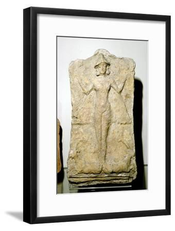 Terracotta relief of the goddess Astarte (Inanna) standing on two animals. Artist: Unknown-Unknown-Framed Giclee Print