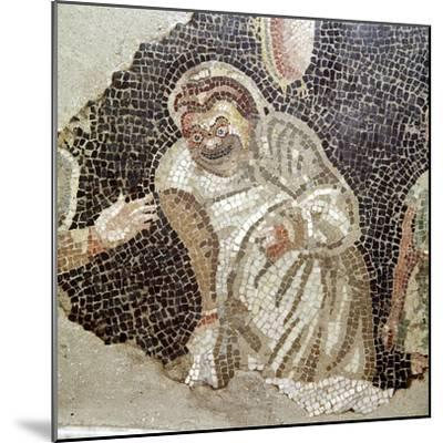Detail from Roman mosaic of an actor wearing a comic mask, Pompeii, Italy. Artist: Unknown-Unknown-Mounted Giclee Print