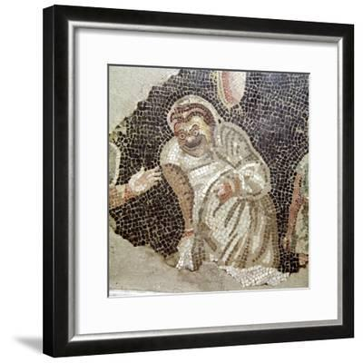 Detail from Roman mosaic of an actor wearing a comic mask, Pompeii, Italy. Artist: Unknown-Unknown-Framed Giclee Print