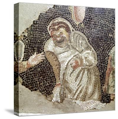Detail from Roman mosaic of an actor wearing a comic mask, Pompeii, Italy. Artist: Unknown-Unknown-Stretched Canvas Print