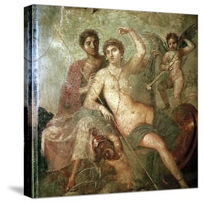 Roman wallpainting of Cupid, Venus and Mars, Pompeii, Italy. Artist: Unknown-Unknown-Stretched Canvas Print