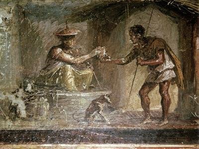 Roman wallpainting of a traveller and a water-seller, Pompeii, Italy. Artist: Unknown-Unknown-Framed Giclee Print