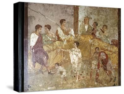 Roman wallpainting of a dinner-party, Pompeii, Italy. Artist: Unknown-Unknown-Stretched Canvas Print