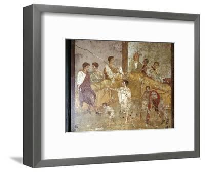 Roman wallpainting of a dinner-party, Pompeii, Italy. Artist: Unknown-Unknown-Framed Giclee Print