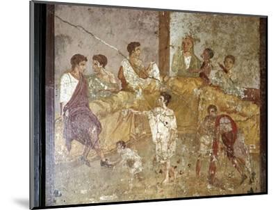 Roman wallpainting of a dinner-party, Pompeii, Italy. Artist: Unknown-Unknown-Mounted Giclee Print