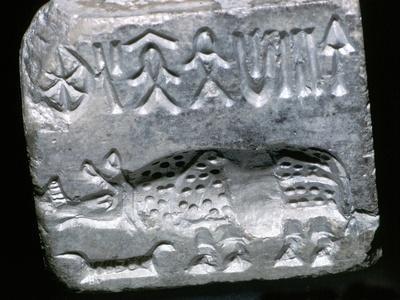 Steatite seal with Rhinoceros, Indus Valley, Mohenjo-Daro, 2500 - 2000 BC. Artist: Unknown-Unknown-Framed Giclee Print